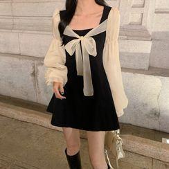 Gray House - Puff-Sleeve Paneled Bow A-Line Dress