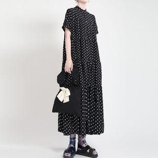 Ultra Modern - Short-Sleeve Dotted Midi Shirtdress