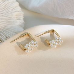 Infini - Faux Pearl Alloy Square Earring