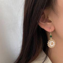 Kinkoza - Faux Pearl Alloy Dangle Earring