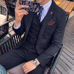 Besto - 套装: 条纹西装外套 + 马甲 + 西裤