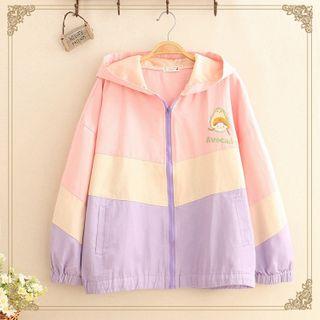 Kawaii Fairyland - Avocado & Girl Embroidered Color-Block Zip Jacket
