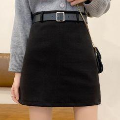 Costana - Woolen Mini A-Line Skirt