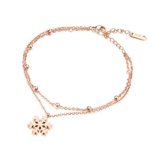 BELEC - Rose Gold Plated Stainless Steel Snowflake Accessories Anklet