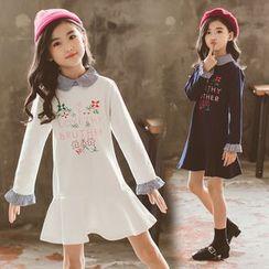Qin Qin - Kids Long-Sleeve Floral Print A-Line Dress