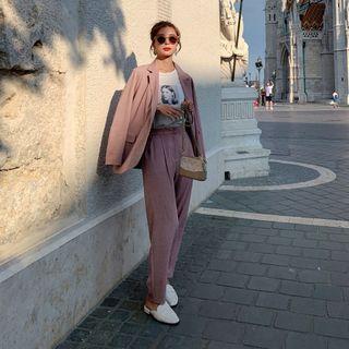 Jinyo - 套装:纯色西装外套 + 纯色裤