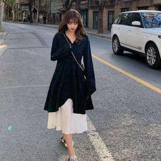 Jinyo - 套装:纯色背心裙 + 长袖纯色连衣裙