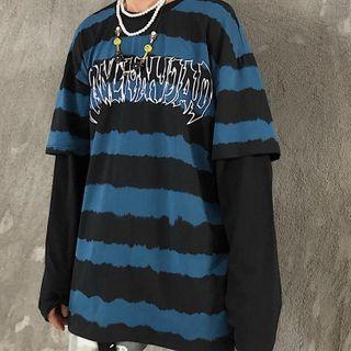 Koiyua - Mock Two-Piece Striped T-Shirt