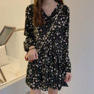 Dute - Puff-Sleeve Floral Print A-Line Dress