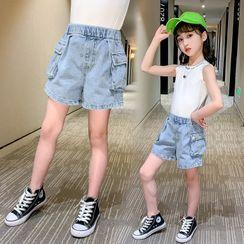 PAM - Kids Washed Denim Cargo Shorts
