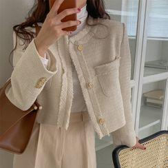 Seoul Fashion - Fringed Tweed Crop Jacket