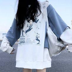 Mushini - Mock Two-Piece Printed Sweatshirt