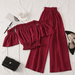 Babique - Set: Off-Shoulder Crop Top + High-Waist Wide-Leg Pants