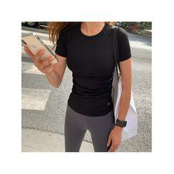 NANING9 - Padded Workout T-Shirt - Black