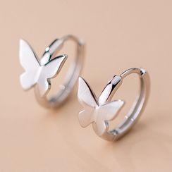 A'ROCH - Butterfly Sterling Silver Hoop Earring