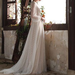 Yikkus - V-Neck Long-Sleeve Dotted See-Through Dress