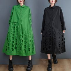 RAIN DEER - Long-Sleeve Cut Out Midi Shift Shirt Dress