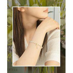 Miss21 Korea(ミス21コリア) - Heart-Charm Bead Bracelet