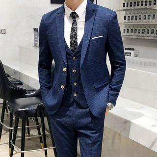 百高 - 套装: 双钮扣西装外套 + 马甲 + 裤