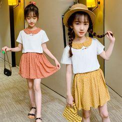 PAM - Kids Set: Short-Sleeve Lettering Blouse + Dotted A-Line Dress
