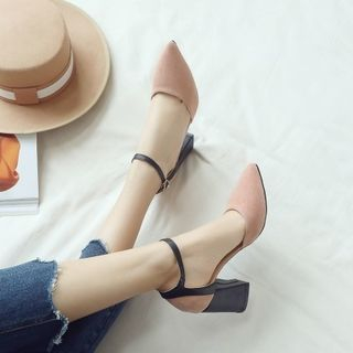 Gimme - Color Panel Chunky Heel Sandals