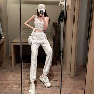 Ginger Girl - 平驳领短款背心 / 高腰运动裤