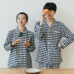Furana - Couple Matching Pajama Set: Long-Sleeve Plaid Shirt + Pants