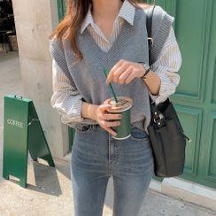 HANSHOW - Striped Long-Sleeve Shirt / Plain V-Neck Knit Vest
