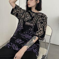 LINSI - Elbow-Sleeve Paisley Print T-Shirt