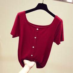 Honey House - Buttoned Short-Sleeve T-Shirt