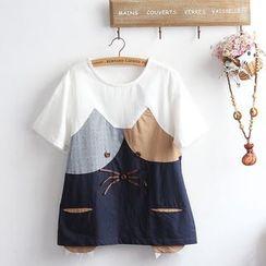 akigogo - 短袖印花T裇 / 貓刺繡牛仔短褲