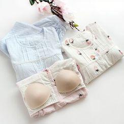 Dogini - Pajama Set: Padded Short-Sleeve Top + Cropped Pants