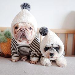 Cleo Petra - 毛毛球條紋連帽寵物上衣
