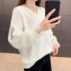 Maple Fair - 网纱袖口毛衣