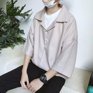 DuckleBeam - Plain 3/4-Sleeve Oversize Shirt