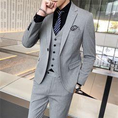 Buffalo Boo - 套装: 单扣西装外套 + 单排扣马甲 + 西裤