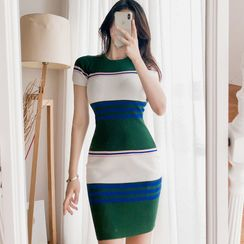 Yilda - Short-Sleeve Striped Knit Sheath Dress