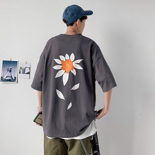 SHIN Shop - Couple Matching Elbow-Sleeve Flower Print T-Shirt