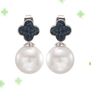 Zirajoy - Faux Pearl Clover Drop Earring