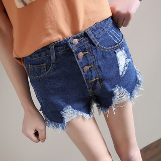 Sienne - Button-Up Distressed Denim Shorts
