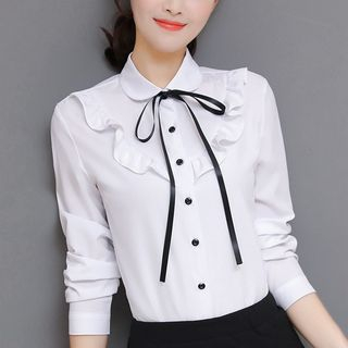 In the Mood - Ruffle Trim Blouse