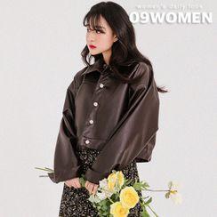 Seoul Fashion - PLUS SIZE Short Pleather Trucker Jacket