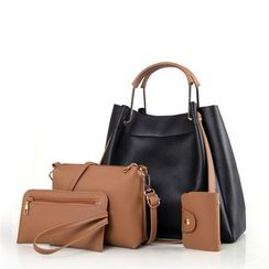Akech - Set of 4: Faux Leather Tote Bag + Crossbody Bag + Clutch + Card Holder