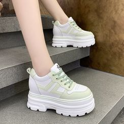 hunigala - Two-Tone Platform Lace-Up Sneakers