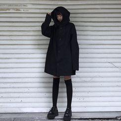 LINSI - 情侣装饰扣连帽衫外套