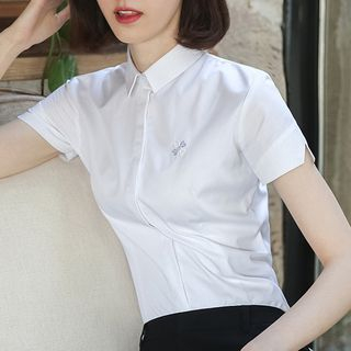 LOWRIVER - Short-Sleeve Embroidered Shirt