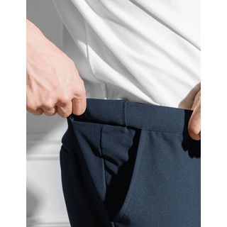STYLEMAN - Hidden Band-Waist Straight-Cut Dress Pants