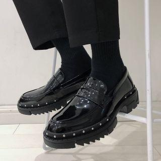 VEAZ - 漆皮铆钉乐福鞋