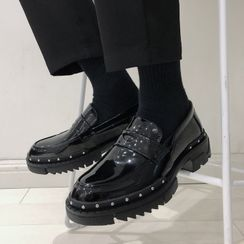 VEAZ - Patent Studded Loafers