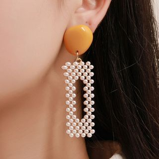 Mulyork - Resin Faux Pearl Rectangle Dangle Earring